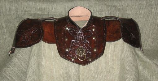 Custom Made Leather Gorget And Pauldrons