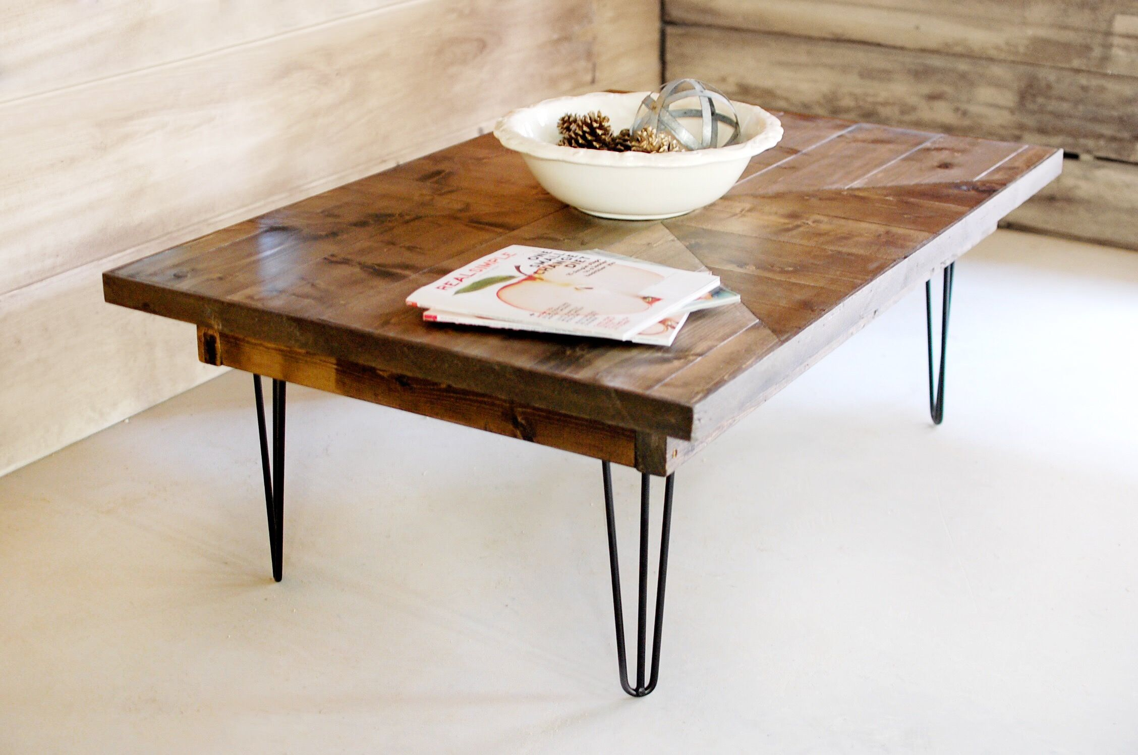 Hand Made Industrial Mid Century Modern Wood Coffee Table