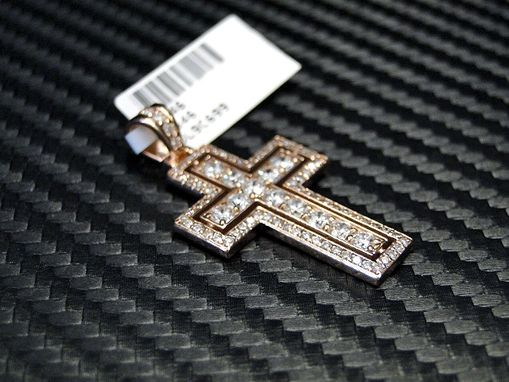 Custom Made 14k Rose Gold Diamond Cross Pendant- 1.01cts