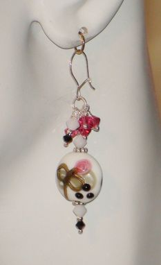 Custom Made Pink & White Lampworked Glass Earrings In Sterling Silver With Swarovski Crystal Gem Cluster