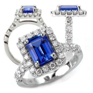 Custom Made 18k Chatham 8x6mm Emerald Cut Blue Sapphire Engagement Ring With Natural Diamond Halo