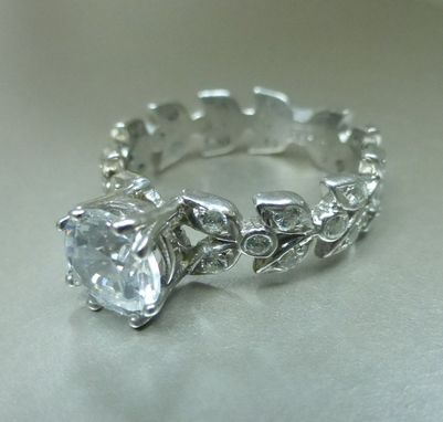 Custom Made Leaf Floral Engagement Ring With Moissanite Center.