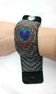 Custom Made Loom Beaded Peacock Design Bracelet Cuff