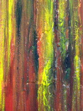 "Custom Made Original Abstract Painting 8""X10"" Terracotta Yellow Green Textured By Devikasart"