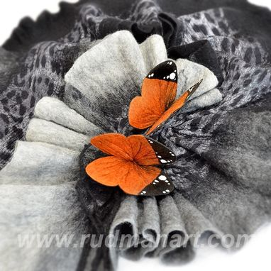 "Custom Made Felted 3d Art Scarf ""Orange Monarch Butterflies"""