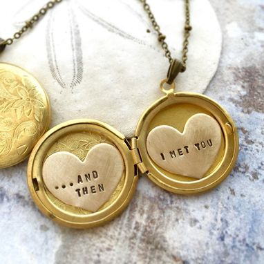 Custom Made Personalized Necklace, And Then I Met You, Valentine's Necklace, Custom Hand Stamped Message