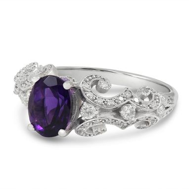 Custom Made Oval Cut Amethyst And Diamonds Antique Style Engagement Ring Amt102