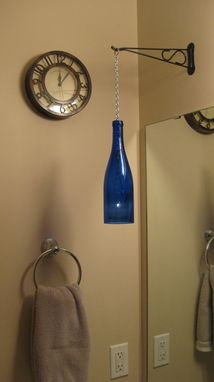 Custom Made Wine Bottle Chain Lantern: Garden Light/Candle Holder - Blue