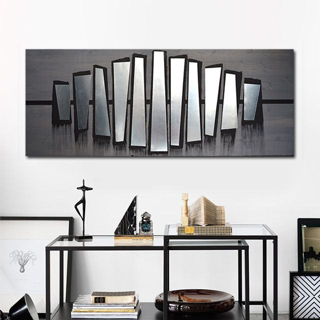 Fierce Parallel 60x24 Wood Wall Art Metal Wall Art Modern Wall Art Wall Decor Abstract Art