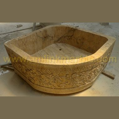 Custom Made Beige Travertine Bathtub Triangular