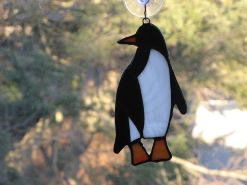 Custom Made Adorable Stained Glass Penguin Light Catcher