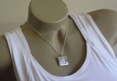 Custom Made Sterling Silver & Bronze - Open Heart Necklace