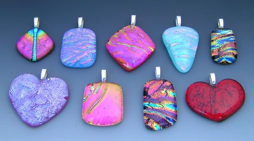 Custom Made Dichroic Fused Glass Pendants