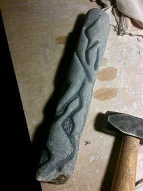 Custom Made Blue Alabaster Stone Mezuzah