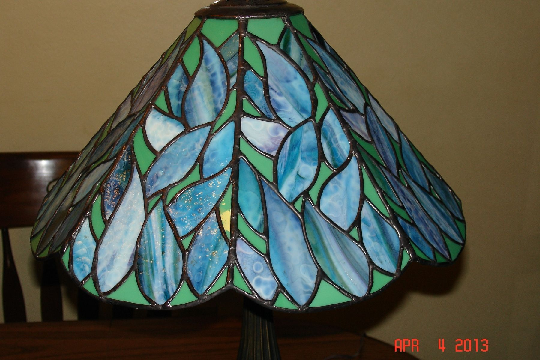 Custom Made Stained Gl Lamp In Blues Greens And Purple