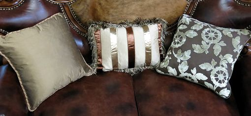 Custom Made Normandy Antique Cherry Jacquard/Leather Ornate Carved Loveseat W/ Pillows