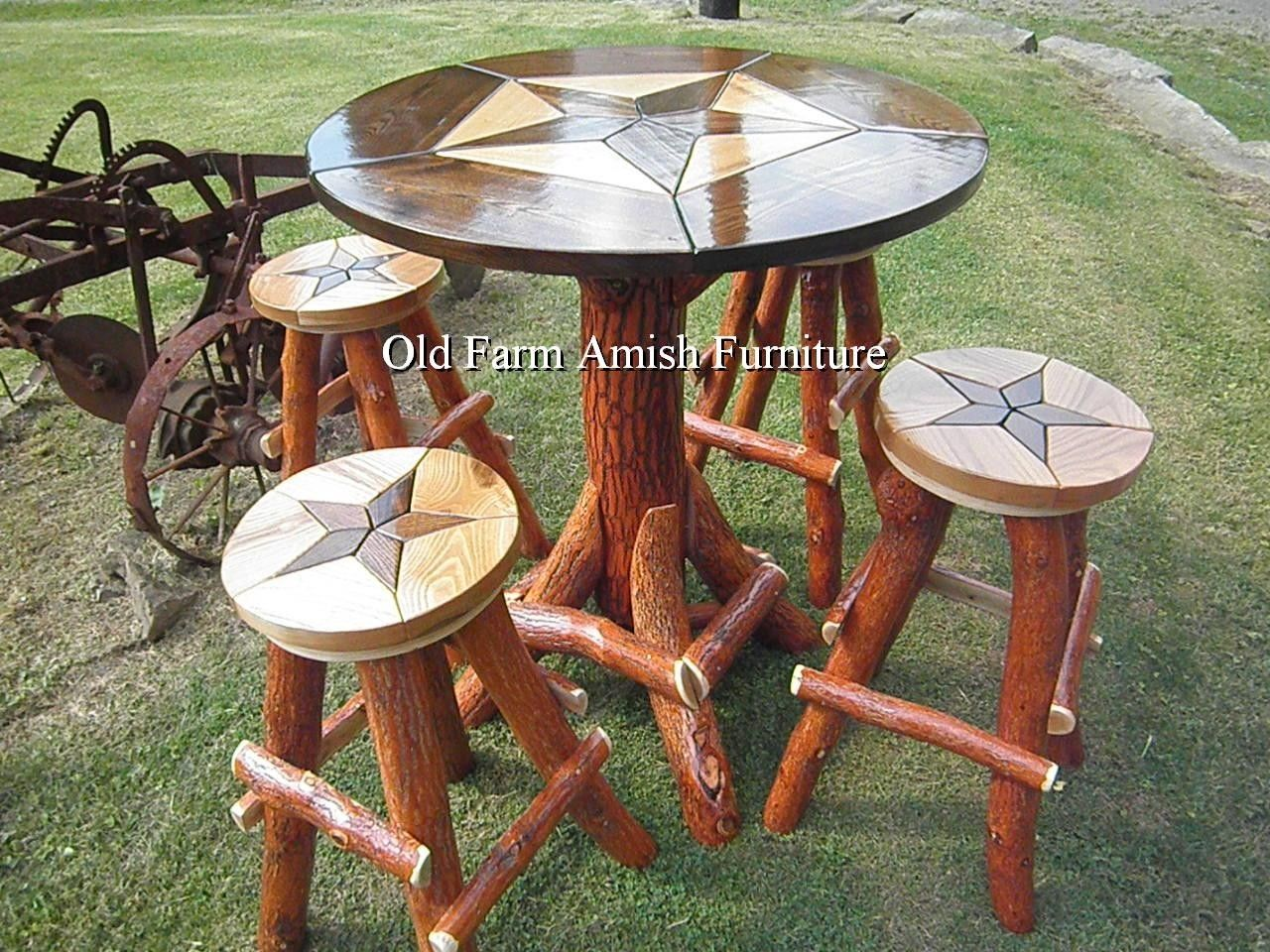 Custom Made Rustic Log Star Design Bar Pub Table With Stools