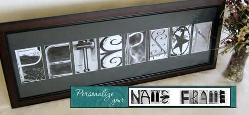 Custom Made Custom Dark Cherry Wood Frame With Alphabet Photographs