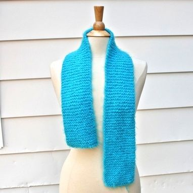 Custom Made Knitted Scarf - Soft - Warm - Aqua Blue Winter Plush