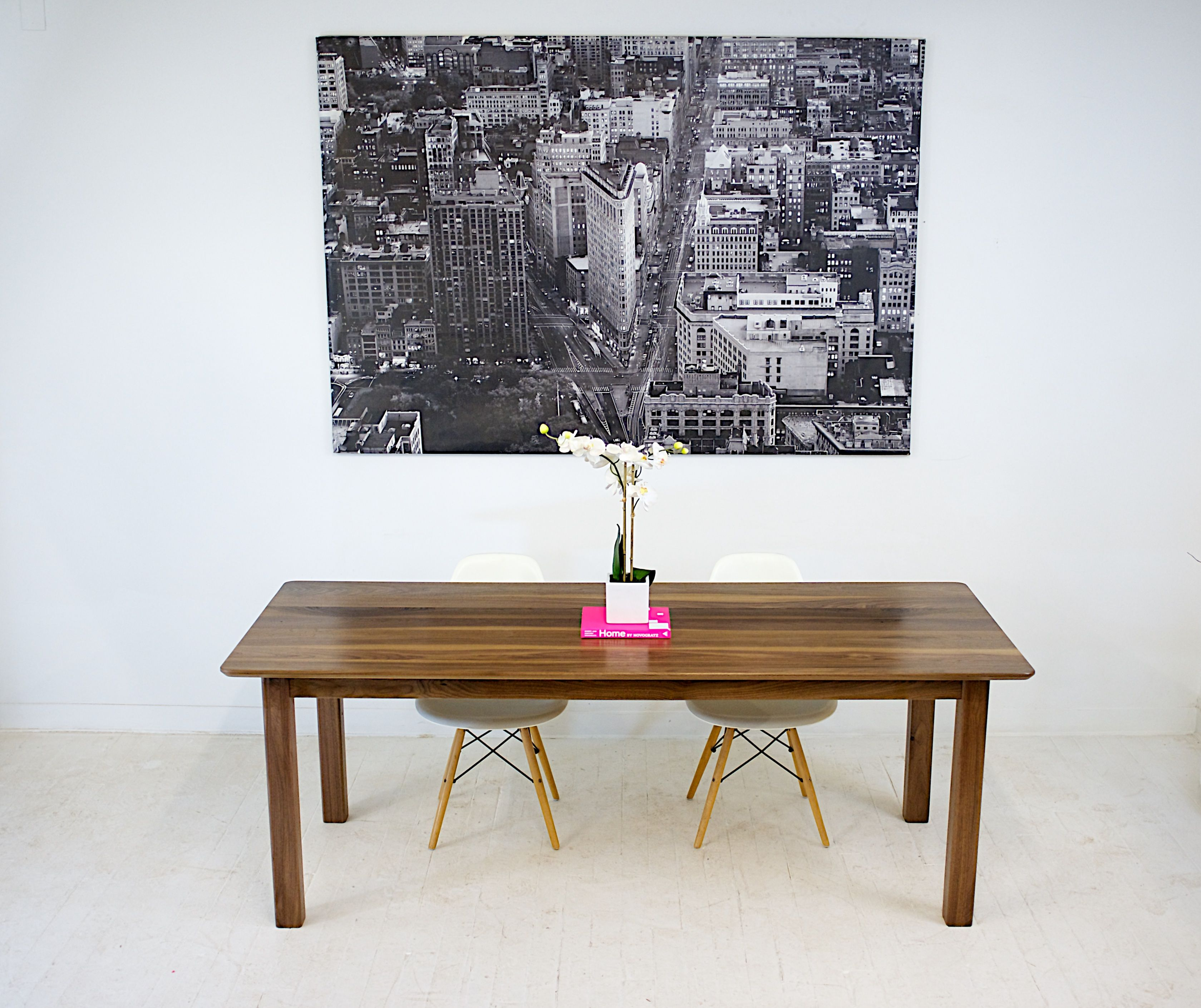 handmade solid walnut parsons dining table with softened lines by moderncre8ve. Black Bedroom Furniture Sets. Home Design Ideas