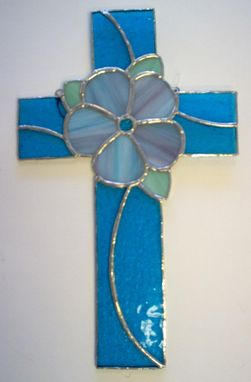 Custom Made Stained Glass Flower Cross, Ready To Ship