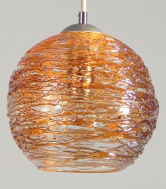 Custom Made Gold Spun Hand Blown Glass Pendant Light