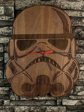 Custom Made Stormtrooper Laser-Cut Wooden Clock