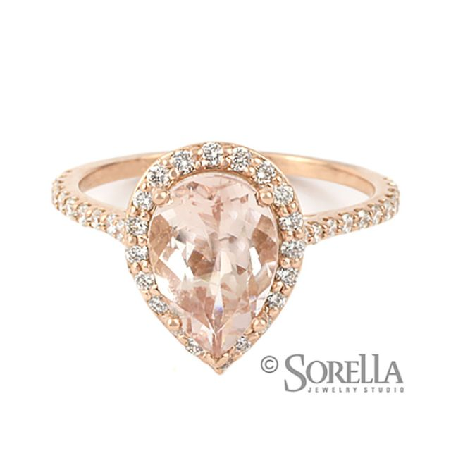 hand crafted rose gold engagement ring with pear shaped pink morganite by sorella jewelry studio custommadecom - Rose Shaped Wedding Ring