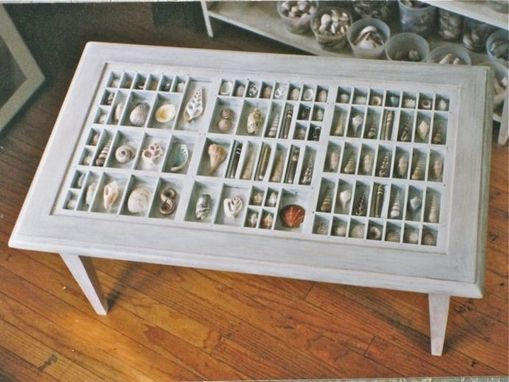 Custom Made White Coffee Table With A Collection