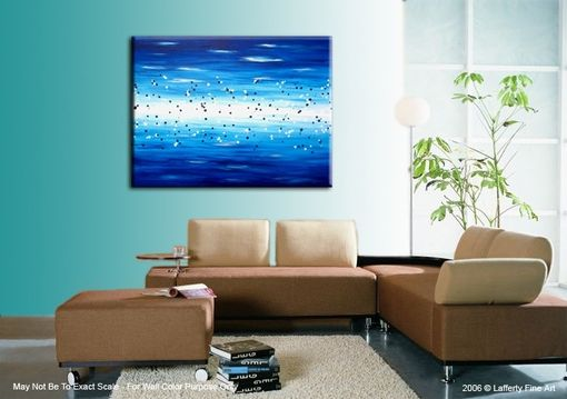 Custom Made Blue Abstract Painting, Original Contemporary Abstract Art, Blue Ocean Acrylic Painting