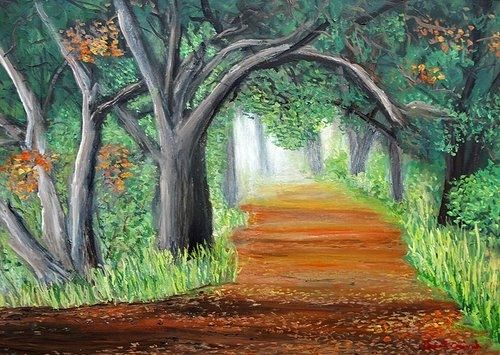 Custom Made A Walk In The Morning Fog 24-36 On Canvas Acrylic