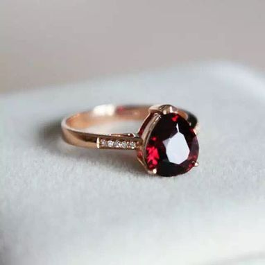 Custom Made 2.94 Carat Garnet Ring In 14k Rose Gold