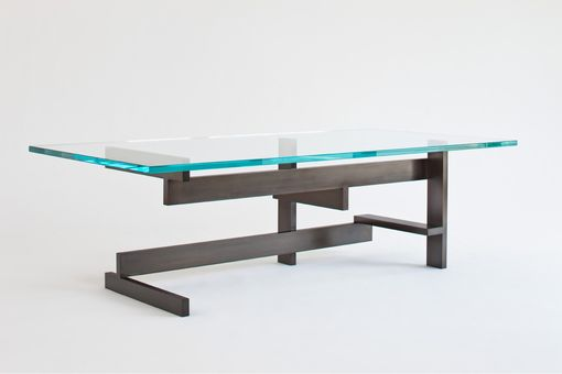 Custom Made Modern Metal And Glass Coffee Table