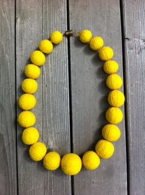 Custom Made Felted Wool Necklace - Embossed Chunky Lemon