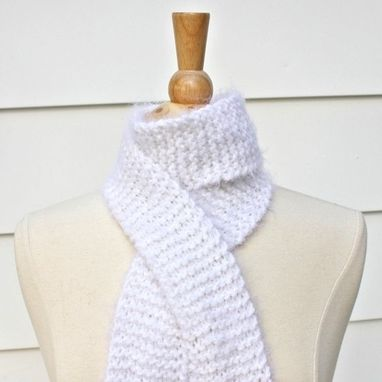 Custom Made Knitted Scarf White Skinny Super Soft Plush Warm Long Winter