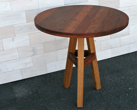Custom Made Round Top Tripod Leg Table Made From Reclaimed Greenheart & Antique Oak