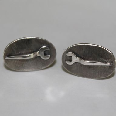 Custom Made Oxidized Sterling Spud Wrench Cuffs