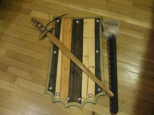 Custom Made Wooden Battle Shield With Long Sword