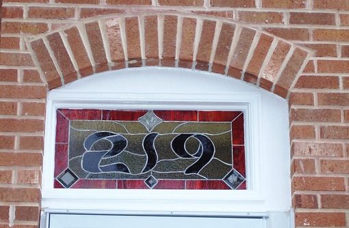 Custom Made Stained Glass Window Panel / Transom - Bold House Number (Am-36)