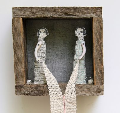 Custom Made Fiber Art Embroidered Diorama -Connection No. 8