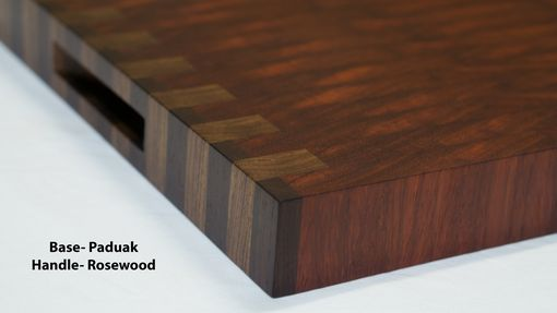 Custom Made Walnut And Cocobolo End Grain Cutting Board, Handmade And Reversible