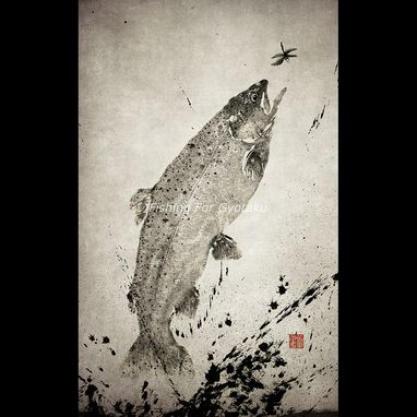 Custom Made Leaping Rainbow Trout (Niji Masu) - Gyotaku Print - Traditional Japanese Fish Art