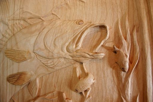 "Custom Made Hand Carved Door  ""Walleye Pickerel"""