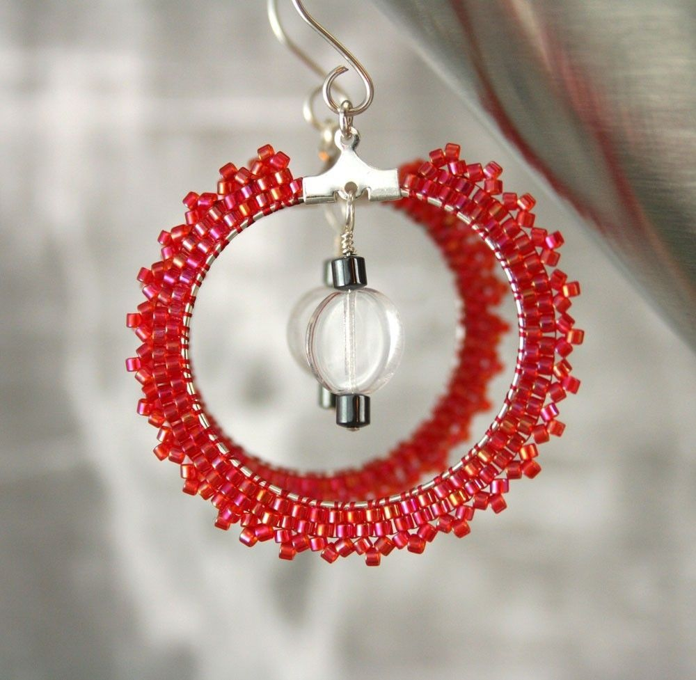 Hand Made Red Seed Bead Hoop Earrings By Three Fates Design Custommade