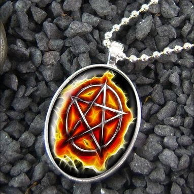 Custom Made Flame Pentacle Fire Pentagram Sterling Silver Necklace 328-Son
