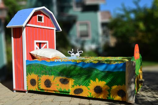 Custom Made Custom Designed Hand Painted Kids Farm Trundle Bed