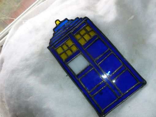 Custom Made Awesome Stained Glass Tardis Light Catcher