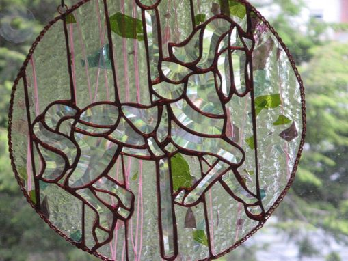 Custom Made Beveled Stained Glass Carousel Horse With Pink And Purple Streaks