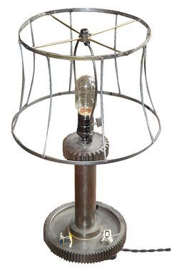 Custom Made Industrial Gear Lamp, Reclaimed Antique Lamp Shade