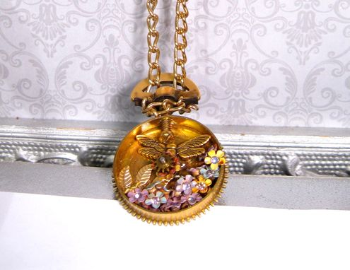 Custom Made Steam Punk Necklace Vintage Clock Parts And Flowers Pendant